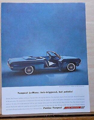 Vintage 1962 magazine ad for Pontiac - Tempest LeMans photo, going machine