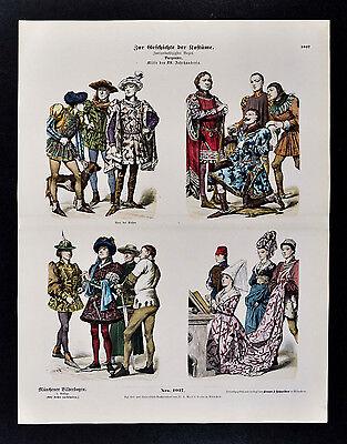 1880 Braun Costume Print Mid 15th Century Dress Charles the Bold France Fashion