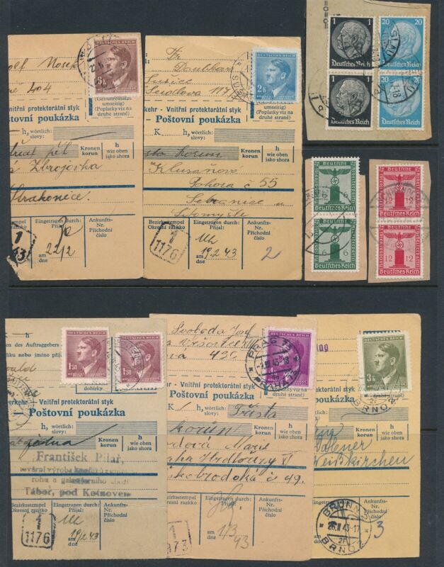 Lot Stamp Germany Bohemia WWII 3rd Reich Parcel Hitler AH Hindenburg Used