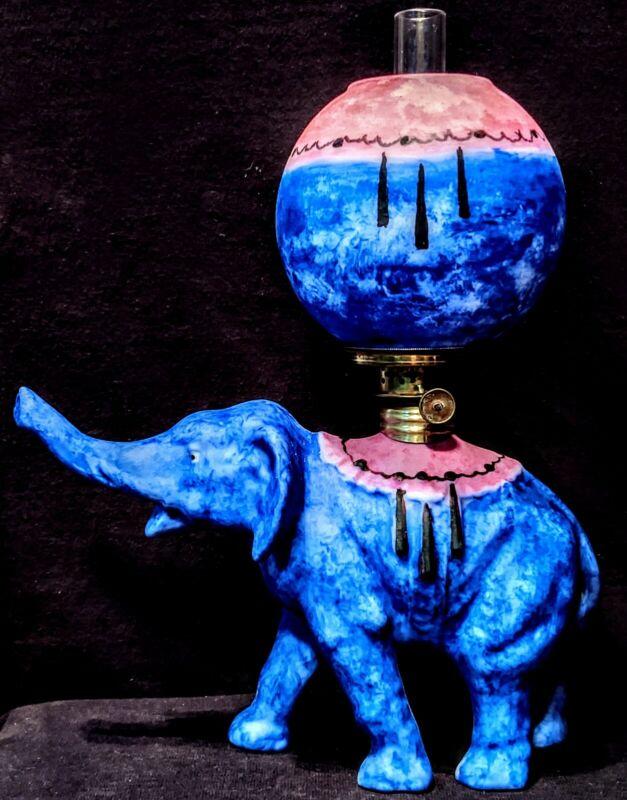 Porcelain Bavaria Elephant Oil Lamp Satin Blue Pink Matching Shade Fancy Burner