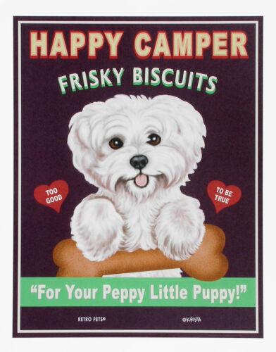 Maltese-Happy Camper Frisky Biscuits 8x10 Print-Retro Pets by Krista Brooks