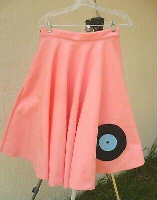 POODLE SKIRT SZ S PINK FELT 50S SOCK HOP COSTUME RECORD APPLIQUE HANDMADE - Poodle Skirt Applique