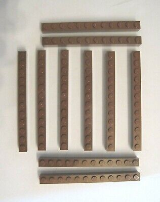 LEGO LOT OF 10 NEW 1 X 12 DOT REDDISH BROWN BRICKS *FREE SHIPPING*