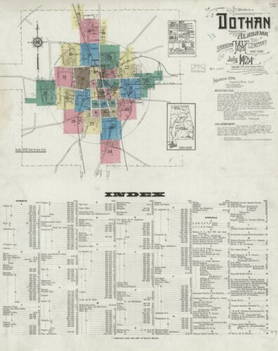 Dothan,  Alabama Sanborn Map© sheets made 1893 to 1924~ CD~ 113 maps in color