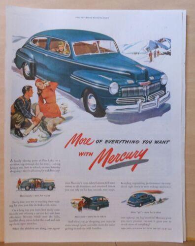 1947 magazine ad for Mercury - ice skaters & skiers, Big Beautiful Mercury