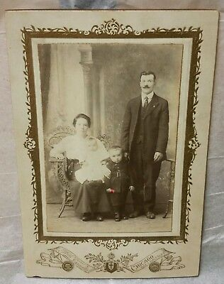 1920s?? early antique photo photograph young Family Portrait man wife 2 children