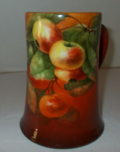 1904 Arts & Crafts CAC BELLEEK Tankard Hand Painted APPLES Signed Stein