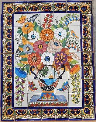 #18 Mexican Talavera Mosaic Mural Tile Handmade Flowers Folk Art Backsplash