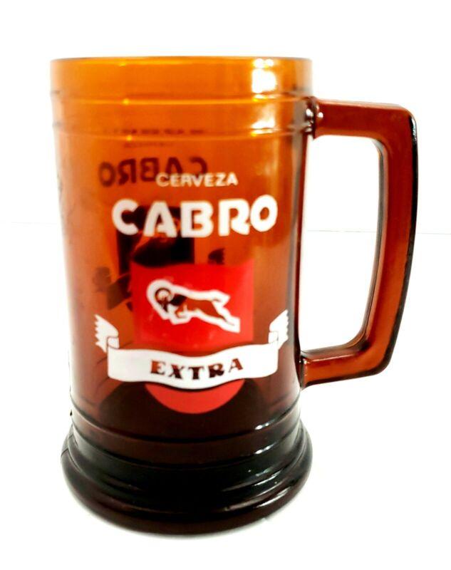 Cerveza Cabro Extra Brown Beer Glass Mug
