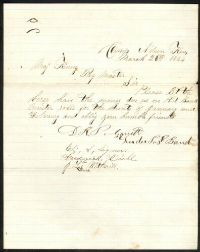 1864 Camp Nelson, Kentucky Manuscript Band Payment Request