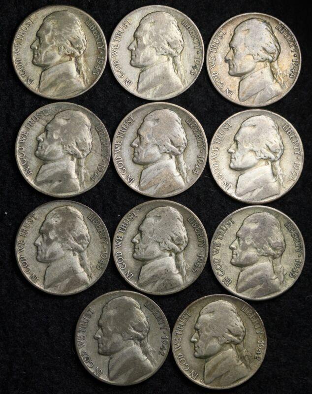 1942-45 PDS Jefferson Nickel Set (11 Coin Lot) Silver War Nickels Nice GOOD / VG