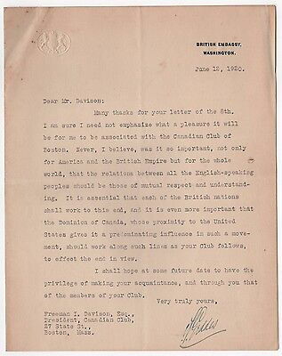 1920 AUCKLAND GEDDES UK Ambassador to US TLS Signed Letter UNITED KINGDOM Brits