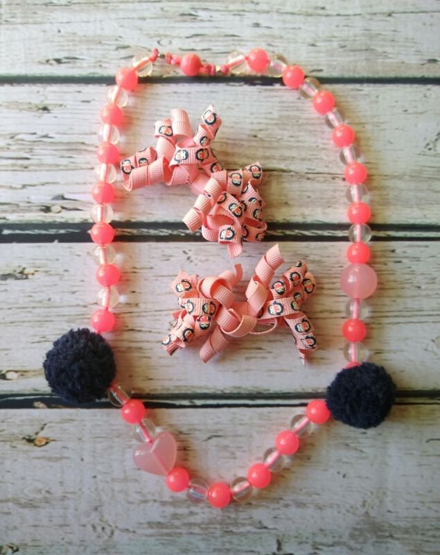 Gymboree Polar Pink peach penguin curly barrette set & pink beaded necklace CUTE