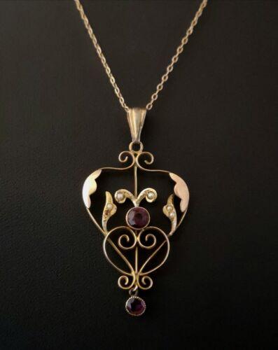 Antique Art Nouveau gold lavalier pendant, Amethyst and seed pearl, necklace