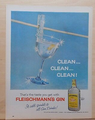 1963 magazine ad for Fleischmann's Gin - Clean, martini glass on clothesline