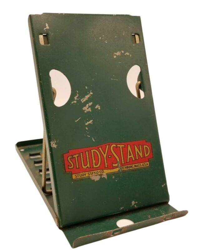 Study-Stand Co. Green Metal Folding Stand Fitchburg, MA Book, Display, *VINTAGE*