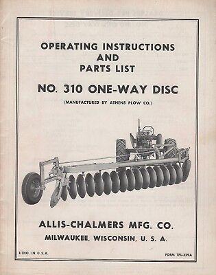 Allis-chalmers No. 310 One- Way Disc Operators Parts Manual Tpl-329a 422