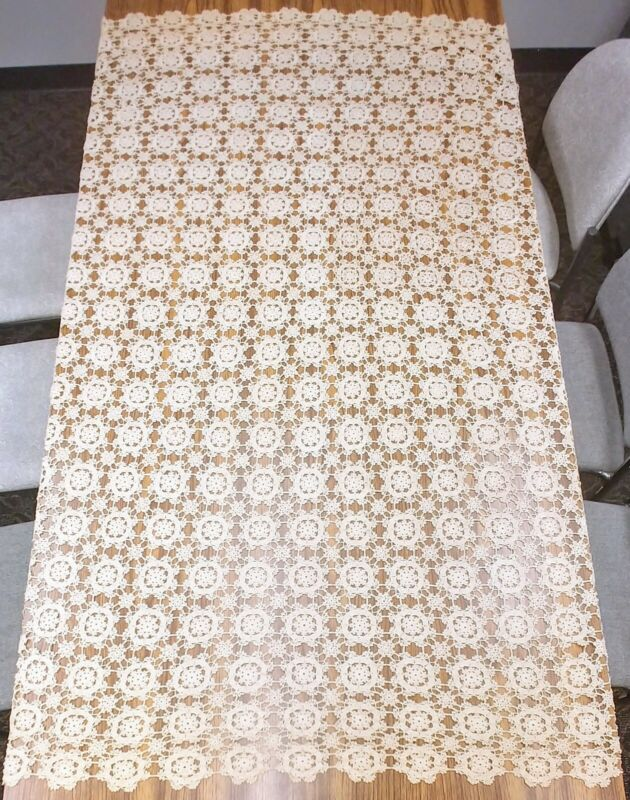 ANTIQUE Hand Made Crochet Tablecloth Bedspread 82x56in