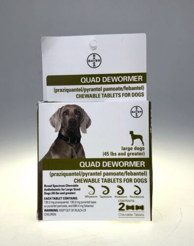 Quad Dewormer for Large Dogs(45 lbs) 2 Chewable Tablets EXP: 10/2021+