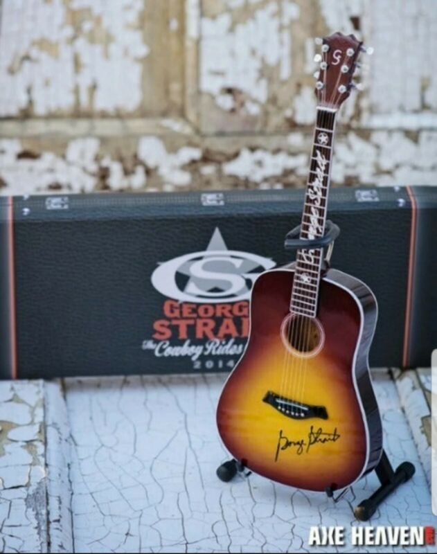 George Strait The Cowboy Rides Away VIP Tour Gift Mini Guitar By AXE HEAVEN