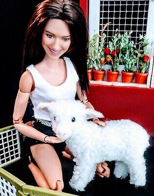 Barbie Size Fuzzy flocked baby lamb for diorama dollhouse display NEW ! LAST ONE