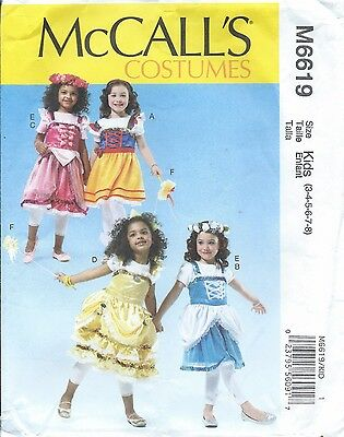 McCall's 6619 HALLOWEEN COSTUME Pattern Pixie Fairy Nymph Wings ~ Girls 3-8
