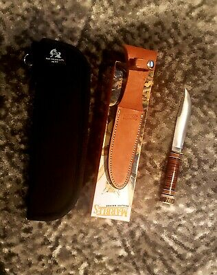 MARBLES IDEAL 5 INCH BLADE HUNTING KNIFE STACKED LEATHER W/ SPANNER NUT