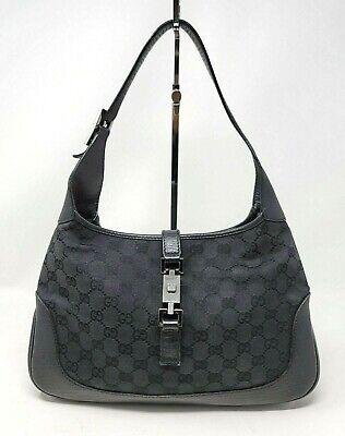 Vintage Gucci Jackie 1961 GG Supreme Black Canvas Shoulder Hobo Hand Bag Auth