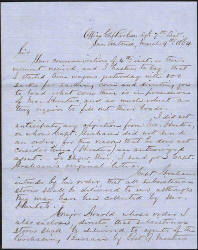 1864 Trans-Mississippi Manuscript Commissary Document – San Antonio, TX