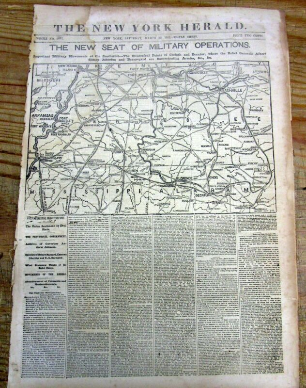 1862 Civil War newspaper w large detailed MAP of TENNESSEE Alabama & MISSISSIPPI