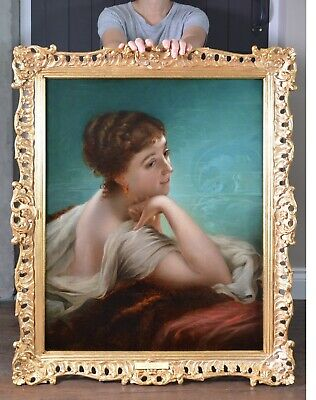 Fine Large Original Antique 19th Century Oil Painting of English Society Beauty