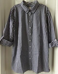 NWT NEW SPRING TALBOTS PLAID CHECK SHIRT NAVY / WHITE SIZE XL $69.50
