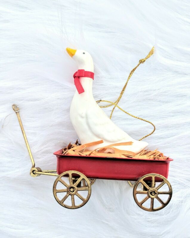 Vintage Taiwan Rolling Red Wagon Goose Duck Christmas Ornament