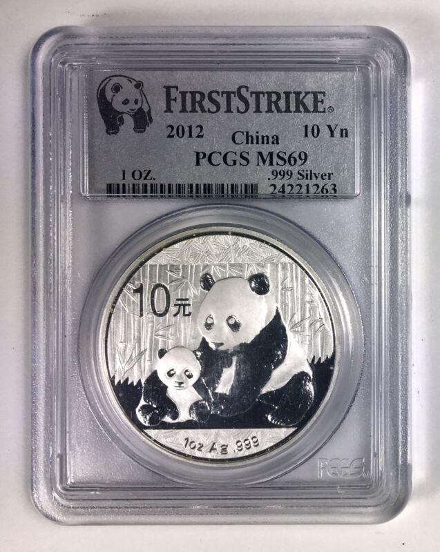 PCGS 2012 China Panda 10 Yuan First Strike 1 OZ Fine Silver Coin MS69