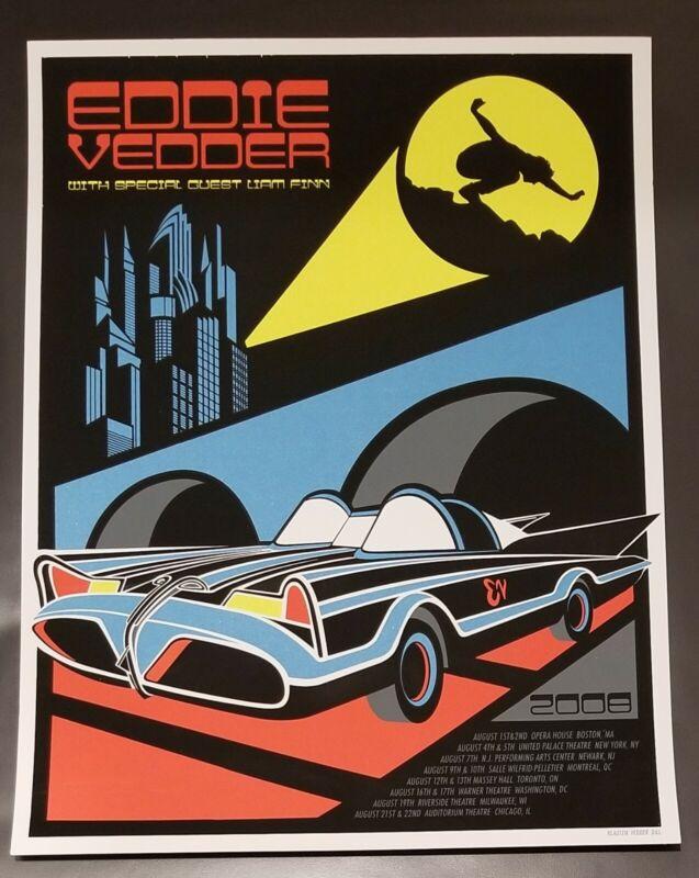 Eddie Vedder Poster 2008 Tour Batman Batmobile Art By Klausen *see pics