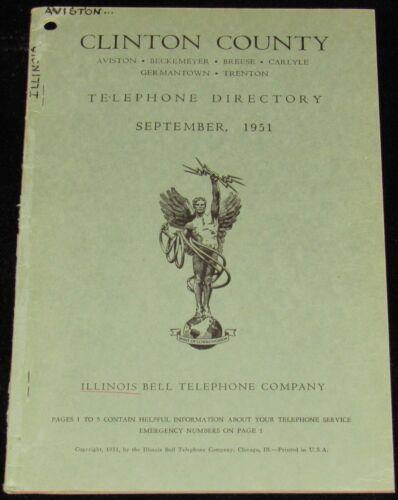 1951 ILLINOIS TELEPHONE DIRECTORY, CLINTON COUNTY, AVISTON, BECKMEYER, CARLYLE