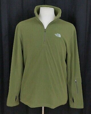 The North Face Men's M 1/3 Zip Lightweight Fleece Pullover Sweater Green Medium