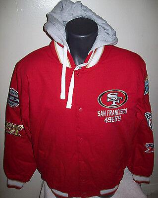 San Francisco 49Ers 5 Time Super Bowl Championship Cotton Jacket M L Xl 2X