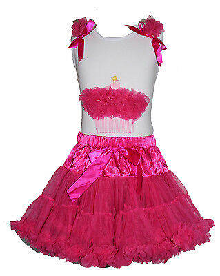 Birthday Girls Dress  Cupcake  Top Tutu Pageant Party  2 pcs  Outfit 1-6 years - Cupcake Tutu Outfit