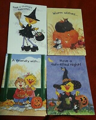 Halloween Greeting Cards Animated (4 Assorted Suzy's Zoo Halloween Greeting Cards with Adorable)