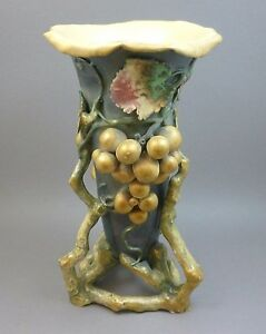 Antique Art Nouveau Amphora Art Pottery Grapes Vase Turn
