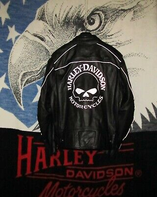 Harley Willie G Skull Reflective Leather Jacket Men's  XXL 98099-07VM Xlent Cond