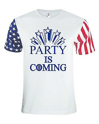 PARTY IS COMING GAME OF THRONES JULY 4TH AMERICAN FLAG T-SHIRT UNISEX - 4th Of July Party Games