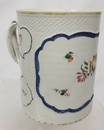 Antique Chinese Export Large Armorial Style FLoral Mug Tankard Enamel