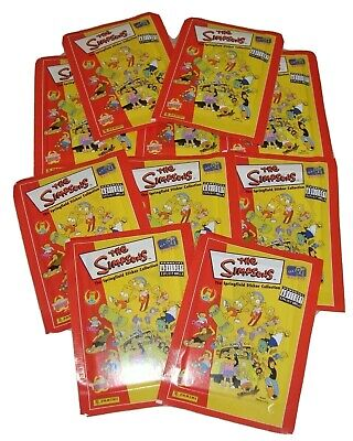 10 SOBRES CROMOS SIN ABRIR THE SIMPSONS THE SPRINGFIELD STICKER COLLECTION