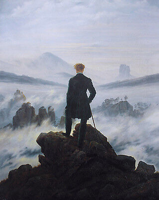 Wanderer Above The Sea Of Fog Above Germany Painting Real Canvas Art Print (Wanderer Above The Sea Of Fog Print)
