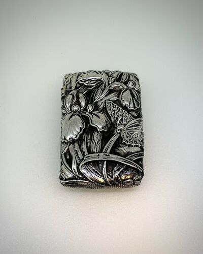 Antique Handmade and Engraved Sterling Silver Match Box With Nature Designs