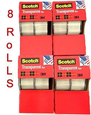 8pc 3m Scotch Tape Clear Office Transparent 34 250 W Desktop Dispenser Lot