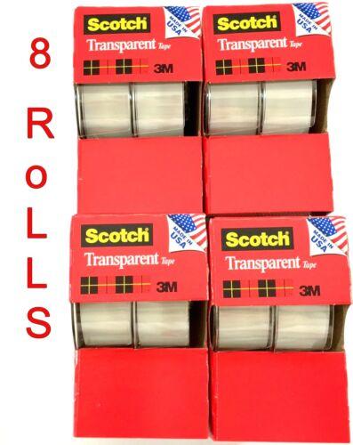 """8pc 3M Scotch Tape Clear Office Transparent 3/4"""" 250"""" w/ Desktop Dispenser Lot"""