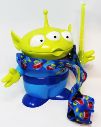 Disney Parks Pixar Toy Story 4 Little Green Men Alien Sipper Cup w/Straw Lanyard